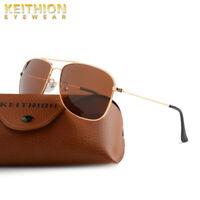 KEITHION Polarized Men Women Sunglasses Slim Fit Metal Frame Driving Eyewear