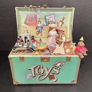 1986 Enesco TREASURE CHEST OF TOYS Animated musical Toy Box WORKS!