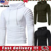 US Mens Long Sleeve Sweatshirt Plain Hoodies Hooded Blouse Jumper Pullover Tops