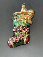 Christmas Stocking Ornament Dillard's Collectible Hand Crafted in Poland Glass