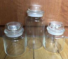 Vtg Set Of 3 Clear Glass Storage Container Covered Jar Canister with Bubble Lids