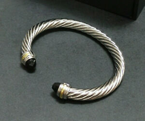 David Yurman's classic 925 sterling silver bracelet with black agate gems