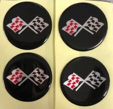CORVETTE STYLE BLACK CROSSED FLAG Wheel Hub Center Cap STICKER DECAL 44mm Set