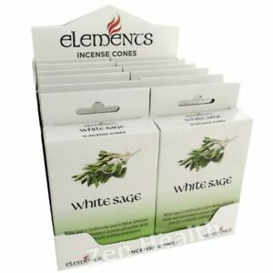 Genuine Elements White Sage Indian Incense Cones 12 Packs of 15 Cones Fragrance