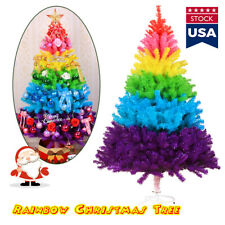 US! Artificial Colorful Rainbow Christmas Tree Festival Decorations Xmas Tree