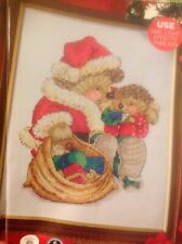 (X0) Country Companions Ed Hedgehog Santa Presents Christmas Cross Stitch Chart