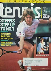 Tennis Vtg Feb 1988 Magazine - Steffi Graf Cover - Yearbook - Vic Braden - VG