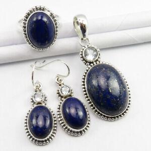 Natural LAPIS LAZULI & BLUE TOPAZ SET, 925 Silver Ring Sz 7.25, Pendant Earrings