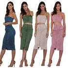 Womens Plain Bodycon Pencil High Waisted Dress Ladies Evening Party Midi Skirt