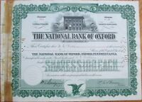 'National Bank of Oxford, Pennsylvania PA 1920s Stock Certificate