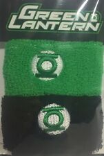 Brand New Two Green Lantern Logo Terry Wristbands Black/ Green