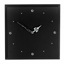 Wood Black Square Wall Clock With Swarovski Element Crystals