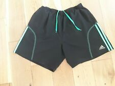Men's Adidas Climalite Black Shorts ,Green Stripes. Size XL