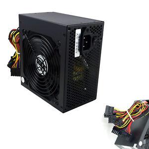 ATX Computer PC PSU Power Supply Unit 500 Watt 12CM Silent Fan Black