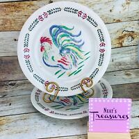 Century Stoneware SUNRISE ROOSTER Laurel Band French Country Dinner Plates Set 2