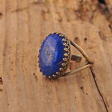 Lapis Lazulli Gemstone Rock Ring Antique Brass Gold Blue Gift Boxed