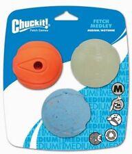 CHUCKIT FETCH MEDLEY 3 MEDIUM DOG TOY BALLS 2.5 INCH REBOUNCE GLOW WHISTLER