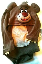 Disney Jungle Book Baloo Baby One Piece Hood Face Grey Tan NWT  0-3 Months