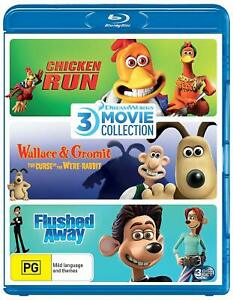 CHICKEN RUN + WALLACE & GROMIT + FLUSHED AWAY Dreamworks Blu-ray Collection