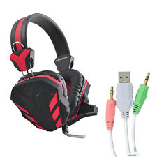 Gaming Headset Surround Stereo Headband Headphone USB 3.5mm LED + Mic For PC