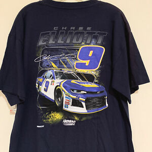 NWT Chase Elliott #9 NASCAR blue T Shirt size  LARGE Hendrick Racing NAVY cc