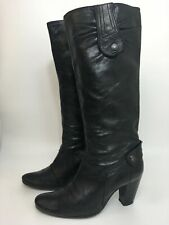 WOMENS DOLCIS BLACK LEATHER PULL ON HIGH HEELED KNEE HIGH BOOTS SHOES UK 5 EU 38