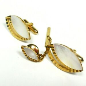 Vintage Cufflinks and Tie Pin Signed Swank Mother Of Pearl Men's Jewelry Set