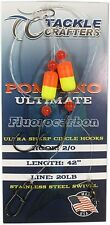 Pompano Rig Fluorocarbon - Saltwater Fishing Gear Surf Leaders Hooks (12 Pack)