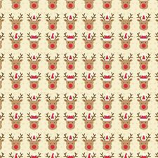 Printed Bow Fabric A4 Christmas Rudolph Red Nosed Reindeer CM9 Make glitter bows