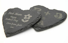 Personalised natural slate stone heart sign coaster engraved custom bespoke gift