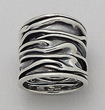 22mm Wide Solid Sterling Silver CRINKLED Cigar Band Ring size 8 GORGEOUS 8.4g