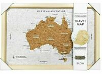 AUSTRALIA TRAVEL PIN BOARD MAP cork +100 pins 27x22cm create personalised canvas
