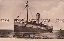 """South Coast Steamboat Co. Postcard.  PS """"Brighton Queen"""" Mined in WW1. 1913"""