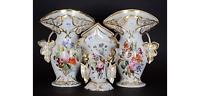 Antique French vieux old paris porcelain Vases set of 3 Floral hand paint decor