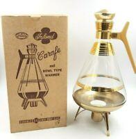 Inland Glass Coffee Carafe w/Warmer Stand 22K Gold Trim with Box