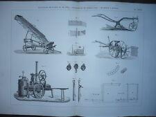 GRAVURE 1880 MATÉRIEL AGRICULTURE ÉLÉVATEUR PAILLE DÉTERREUR TUBERCULE