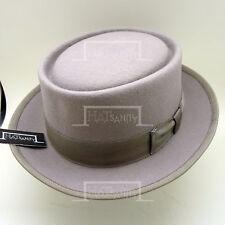 CLASSIC Wool Felt Pork Pie Hat Men Trilby Stingy Brim Porkpie | Grey | M L XL