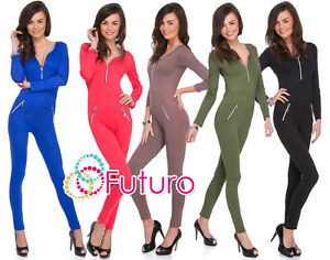 Womens Jumpsuit Zip Neck Pockets Long Sleeve Playsuit Catsuit Sizes 8-14 1078
