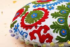 Indian Round Cushion Cover Suzani Hand Embroidered Pillow Case Cover Sofa Decor