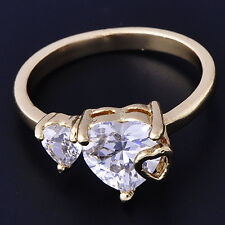 Lovely Ring Womens Yellow Gold Filled Clear Zircon Heart Band Ring Size 6