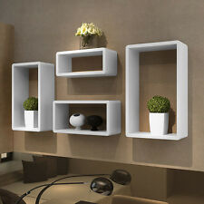 Wall Retro Storage Shelf High Gloss Unit White Floating Cubes Display Book Box