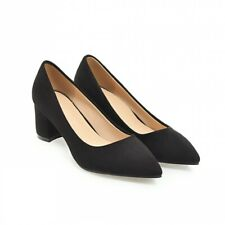 Wedding Bridal Women Block Heel Pointy Toe Slip on Pumps Work Faux Suede Shoes D