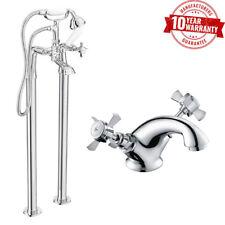 Mezclador de ducha baño tradicional de pie & Cuenca Grifo Cross Cabeza De Cuello Redondo * W