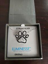 Luminesse Paw Pendant Necklace with Swarovski crystals, ladies jewelry, NEW