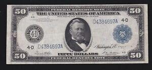 US 1914 $50 FRN Cleveland FR 1039a VF-XF (697)