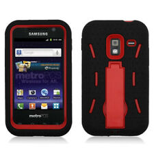 Samsung Galaxy Admire 4G Impact Hard Rubber Case Cover with Kick Stand Black Red