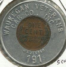 1946 Waukegan Veterans Cab Co. - Encased Cent - Good Luck - Il - Lo t# Ec 3145