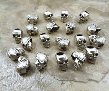 20 Pewter Beads -12mm SKULL with 4.5mm Vertical Hole - 5475