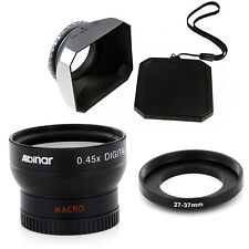 27mm Wide Angle Lens with Macro and Silver DV-s Hood for Cameras Camcorders, New