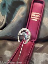 Alfiler corbata JOYERIA Siglo XlX Oro Bronce Brillantes Herradura cabeza caballo